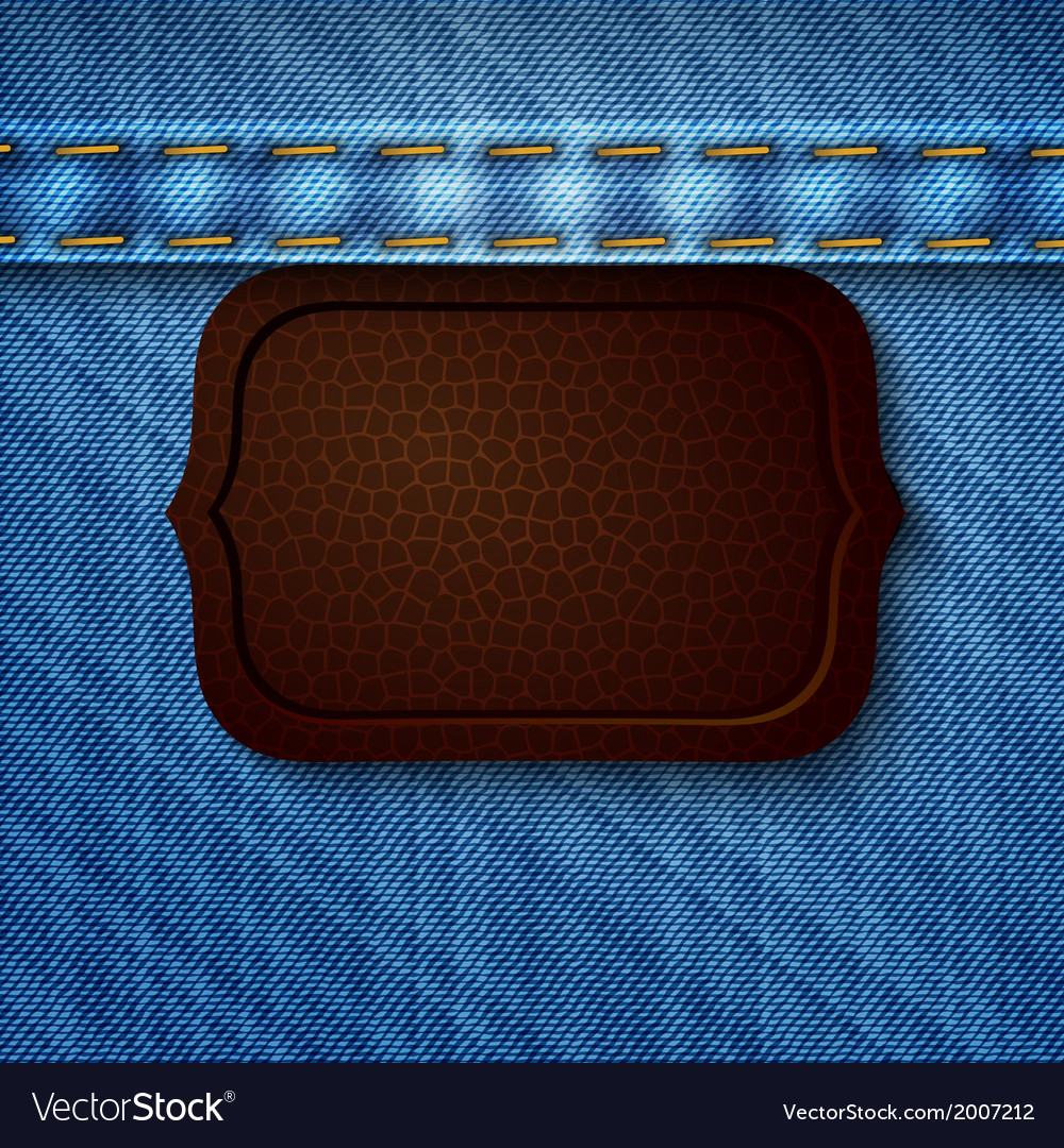 Abstract denim background with leather tag vector   Price: 1 Credit (USD $1)