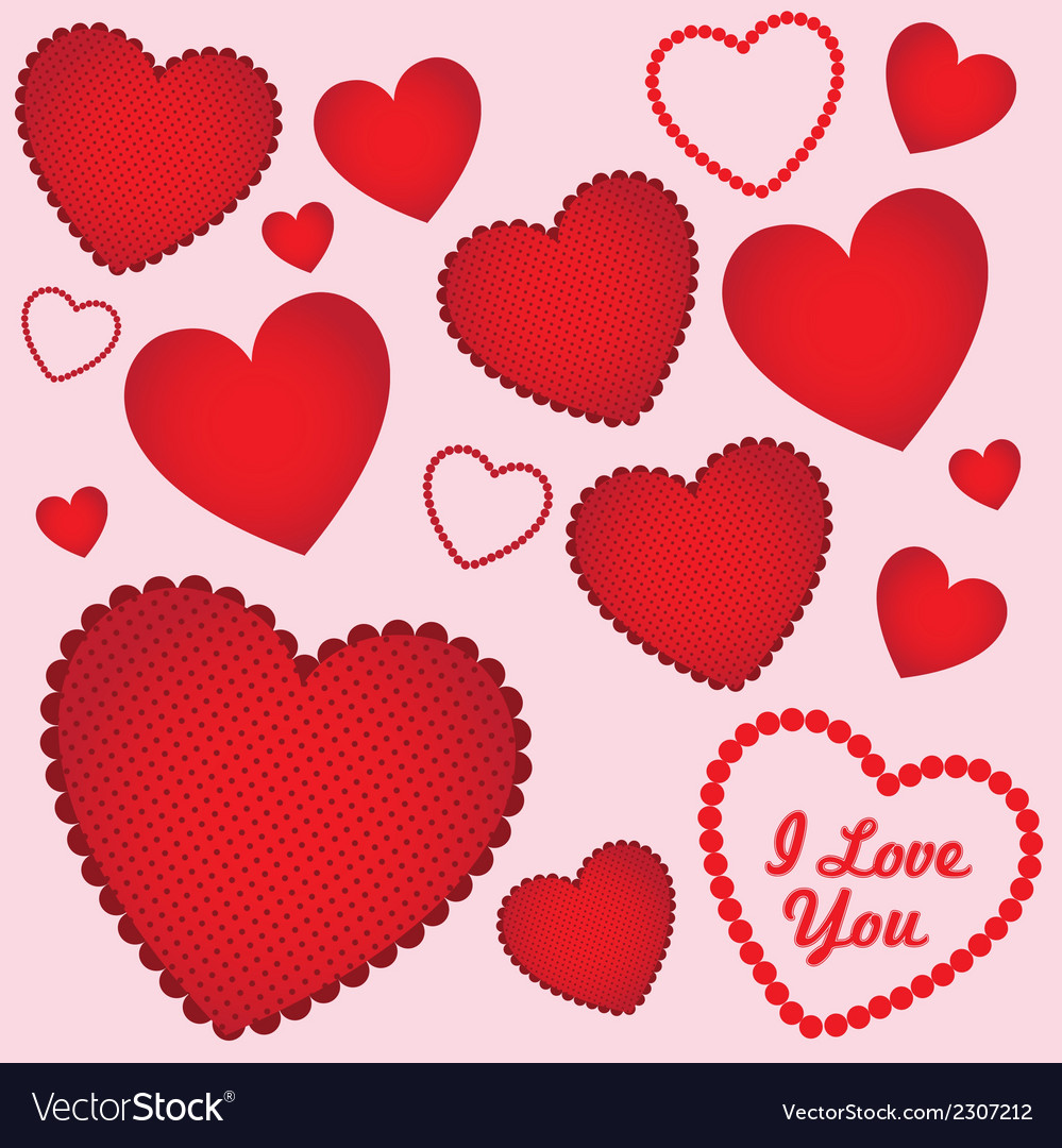 Background of hearts with different textures vector | Price: 1 Credit (USD $1)