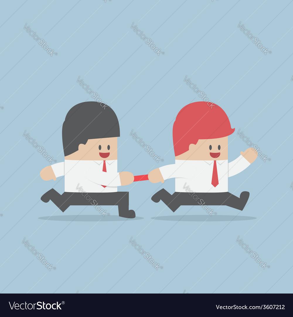 Businessman passing baton to the other in relay ra vector | Price: 1 Credit (USD $1)