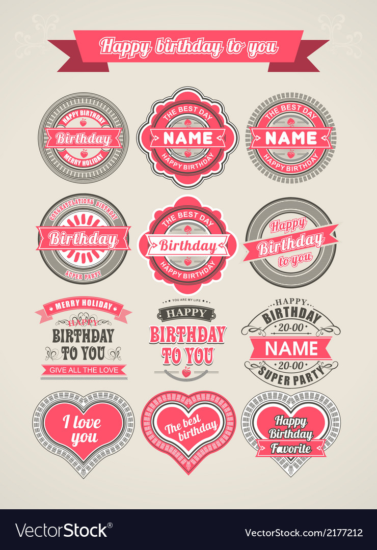 Calligraphic design elements birthday vector | Price: 1 Credit (USD $1)
