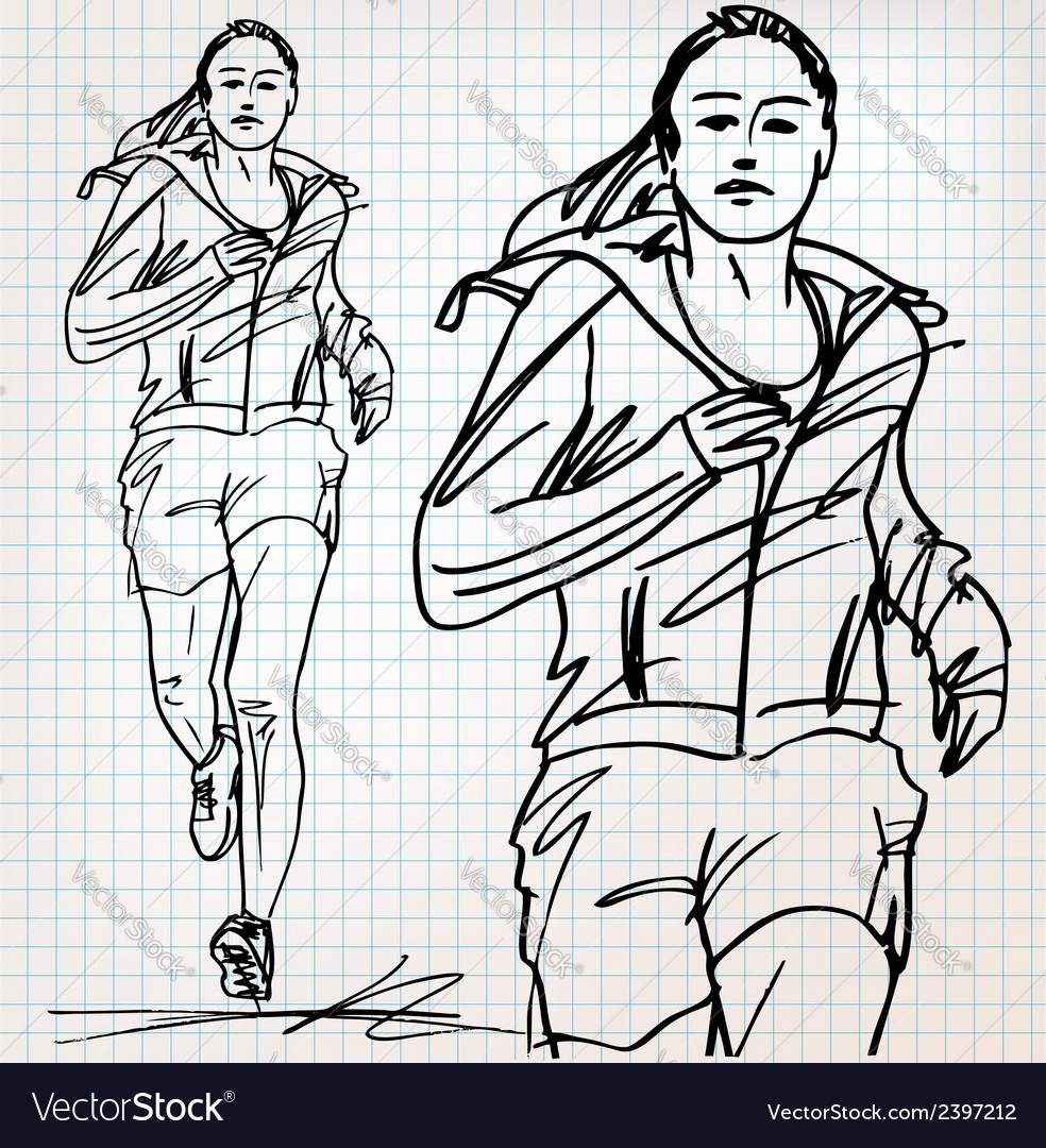 Female runner sketch vector   Price: 1 Credit (USD $1)