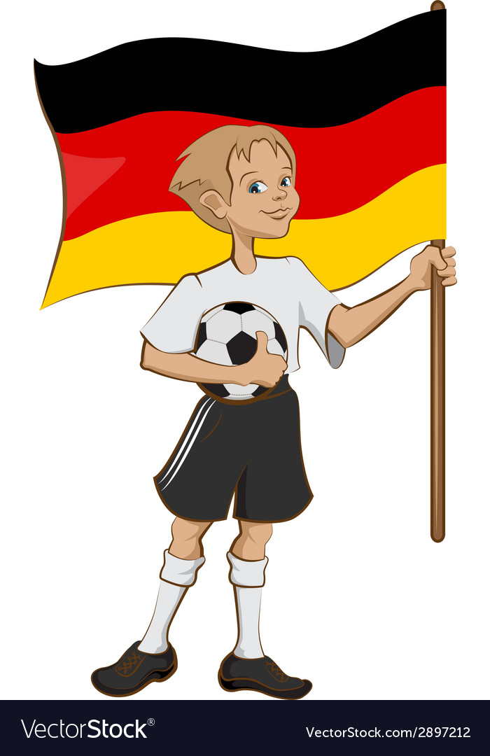 German soccer player holding ball and flag vector | Price: 1 Credit (USD $1)