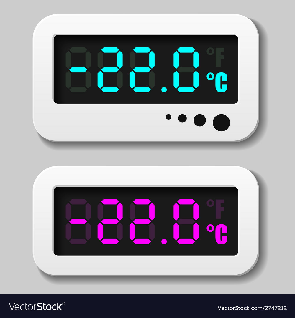 Glowing digital thermometer icons vector | Price: 1 Credit (USD $1)