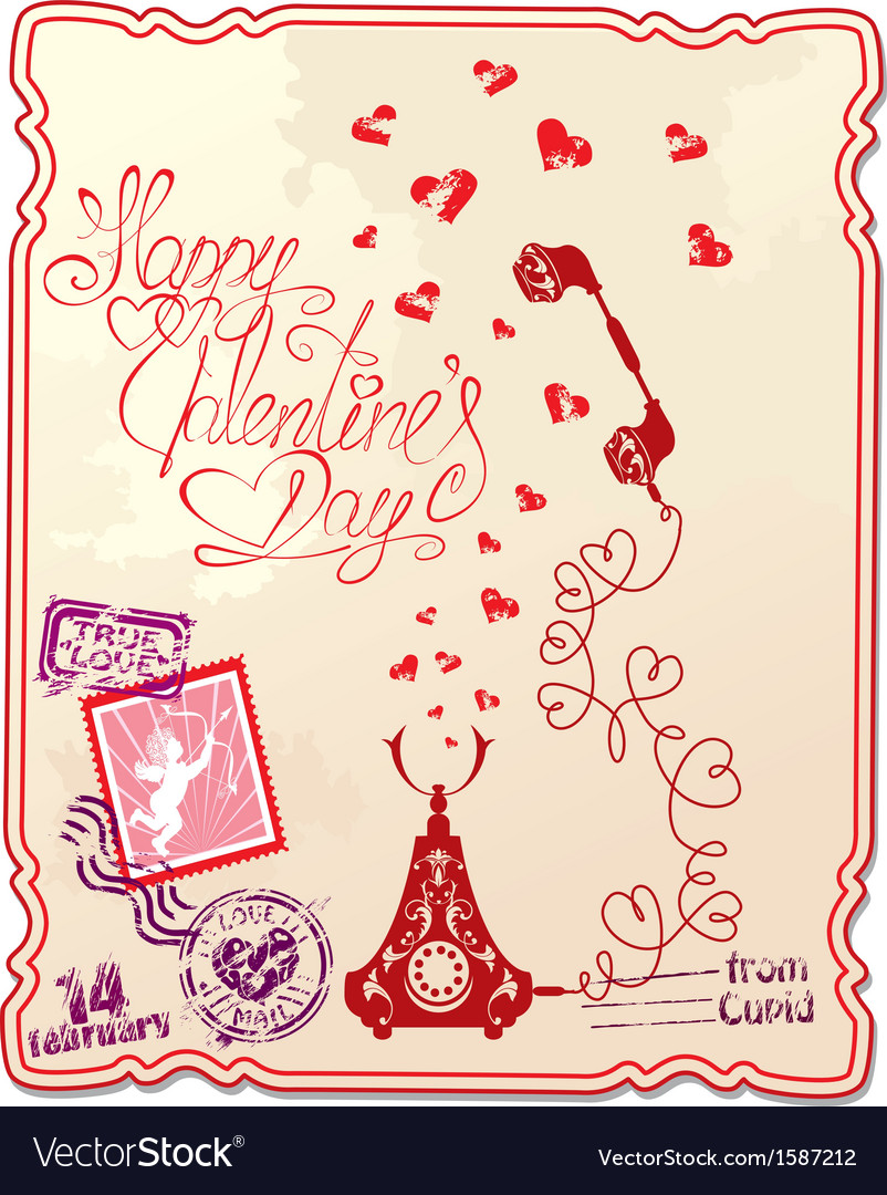 Holiday card with hand written text happy valentin vector | Price: 1 Credit (USD $1)