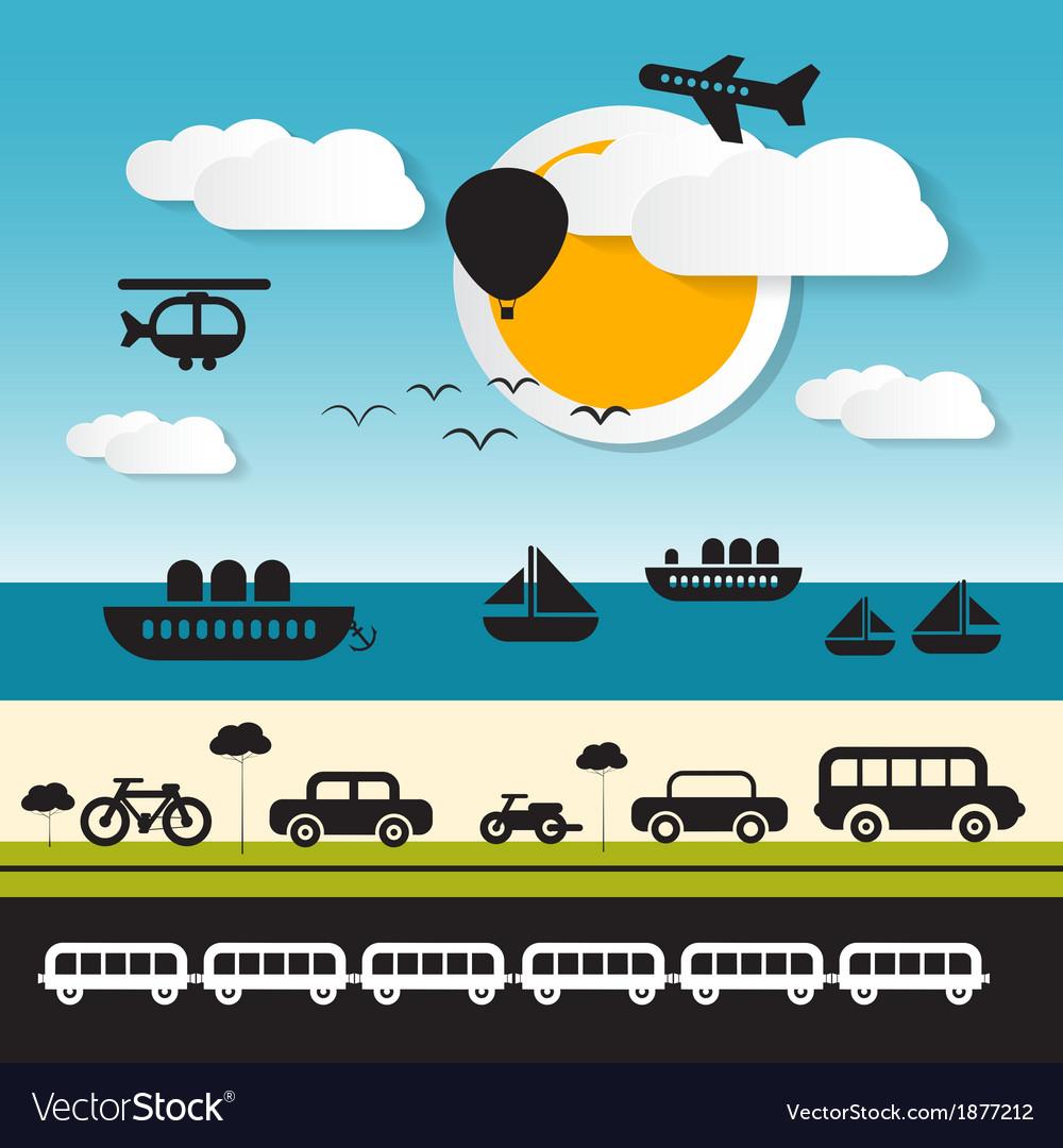 Transportation icons on landscape background vector   Price: 1 Credit (USD $1)