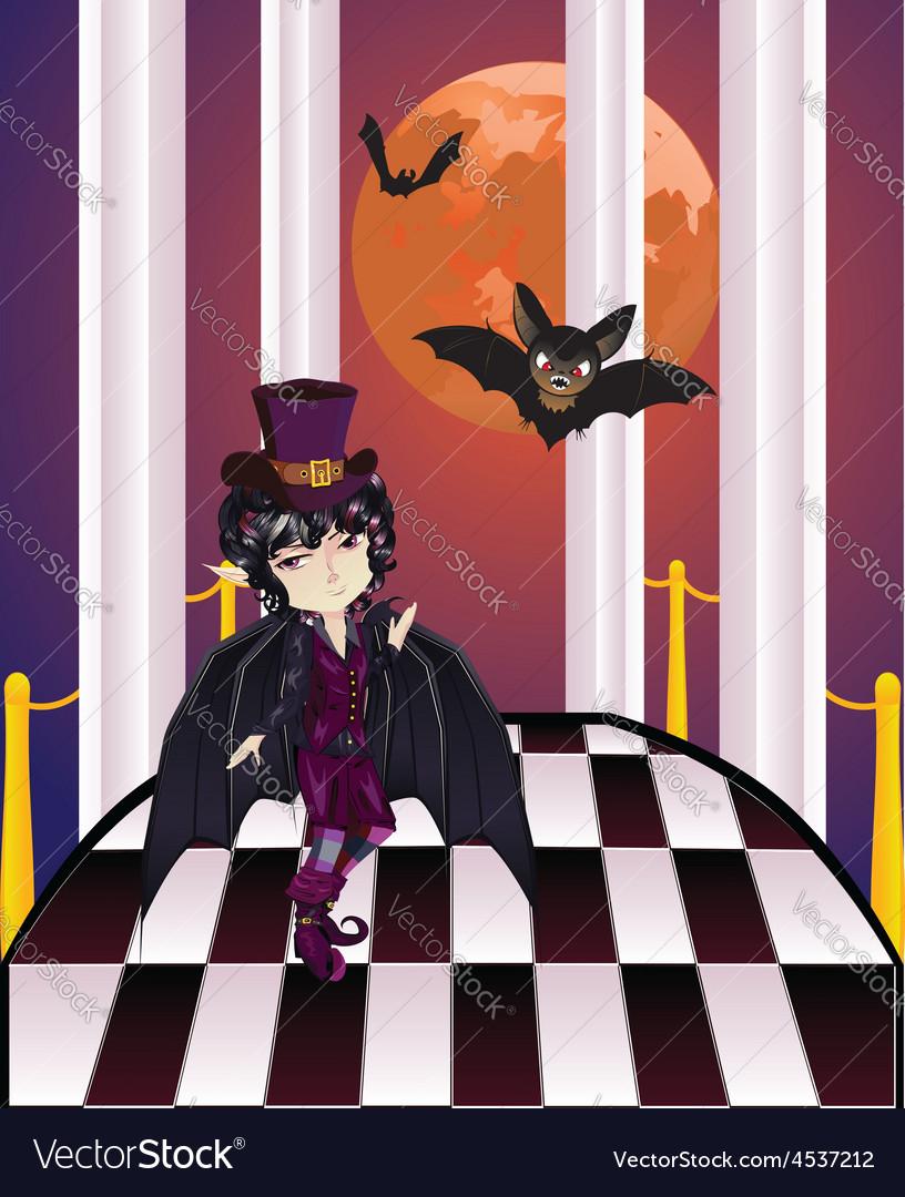 Vampire on balcony vector | Price: 1 Credit (USD $1)