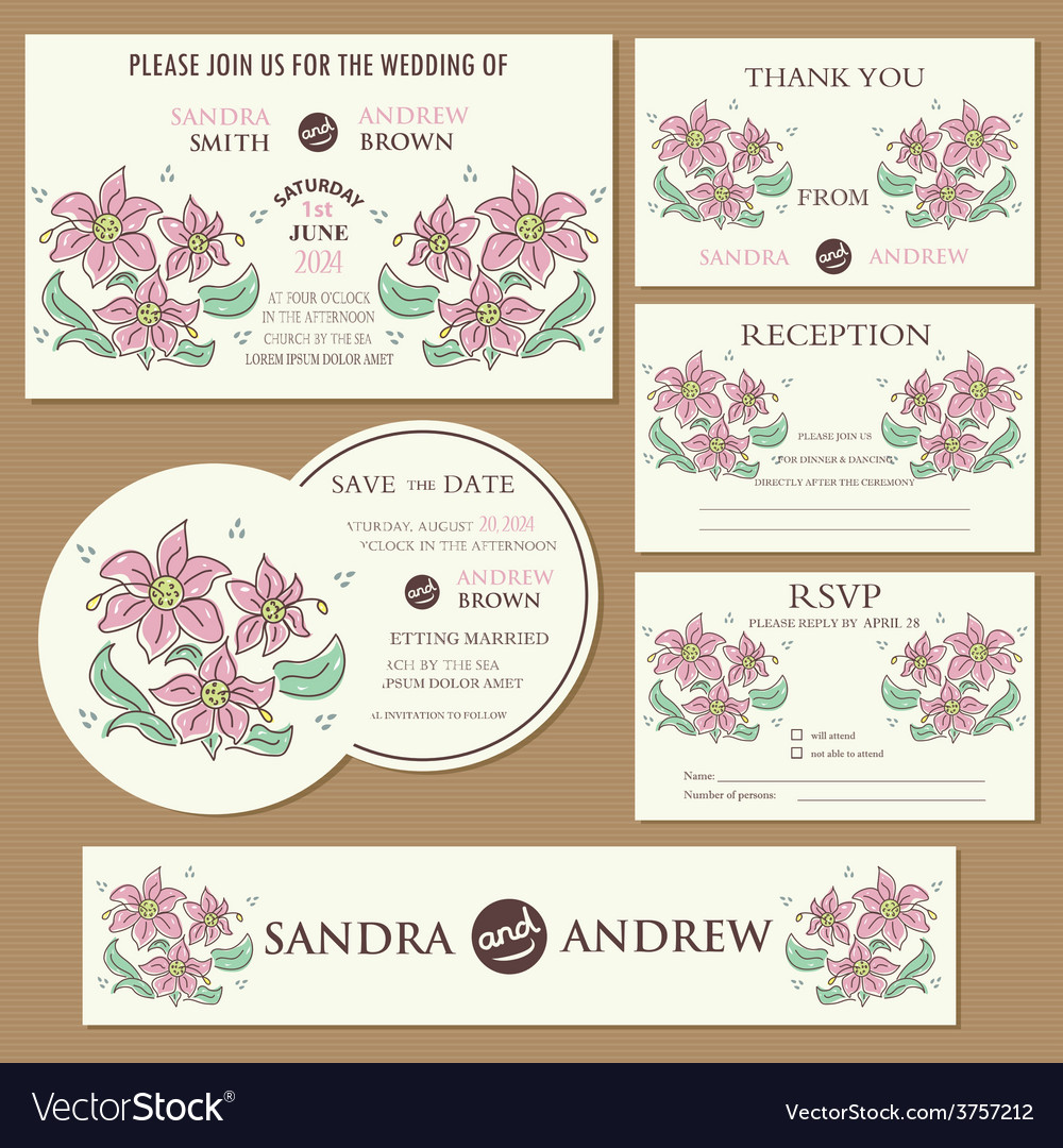 Wedding cards set with hand drawn flowers vector | Price: 1 Credit (USD $1)