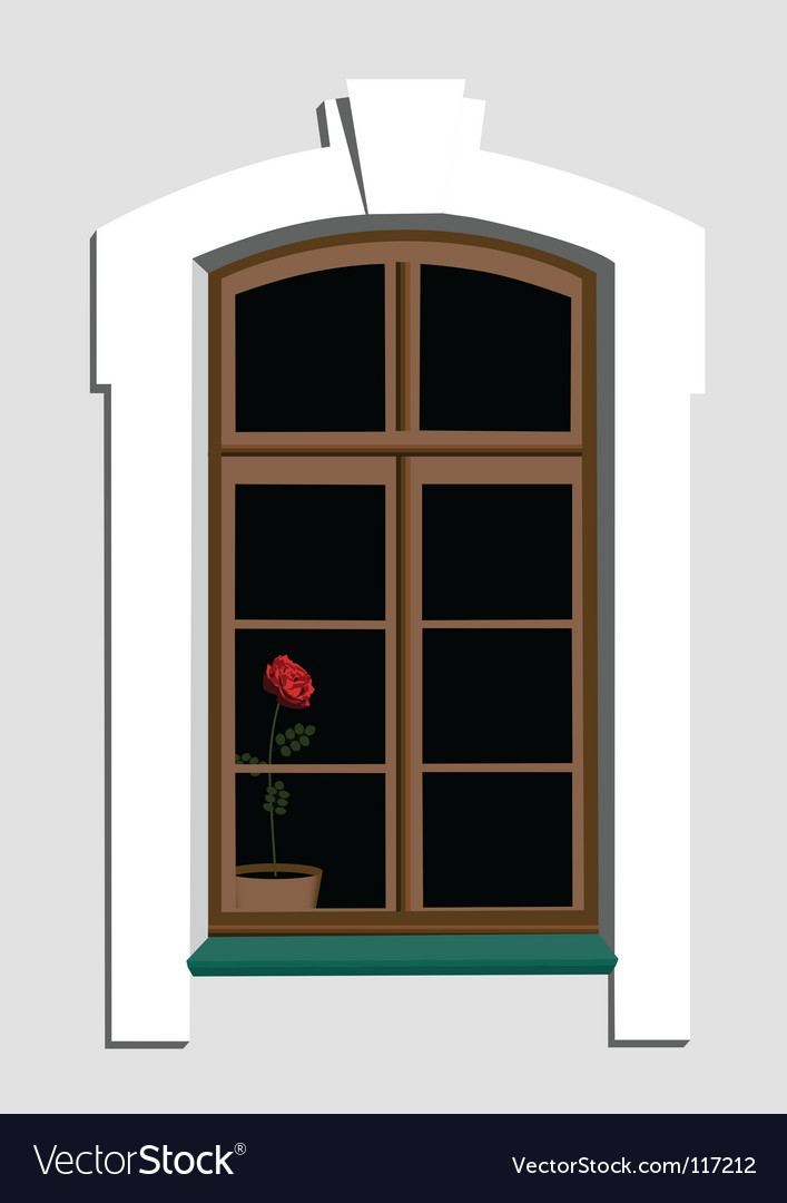 Window and rose vector | Price: 1 Credit (USD $1)
