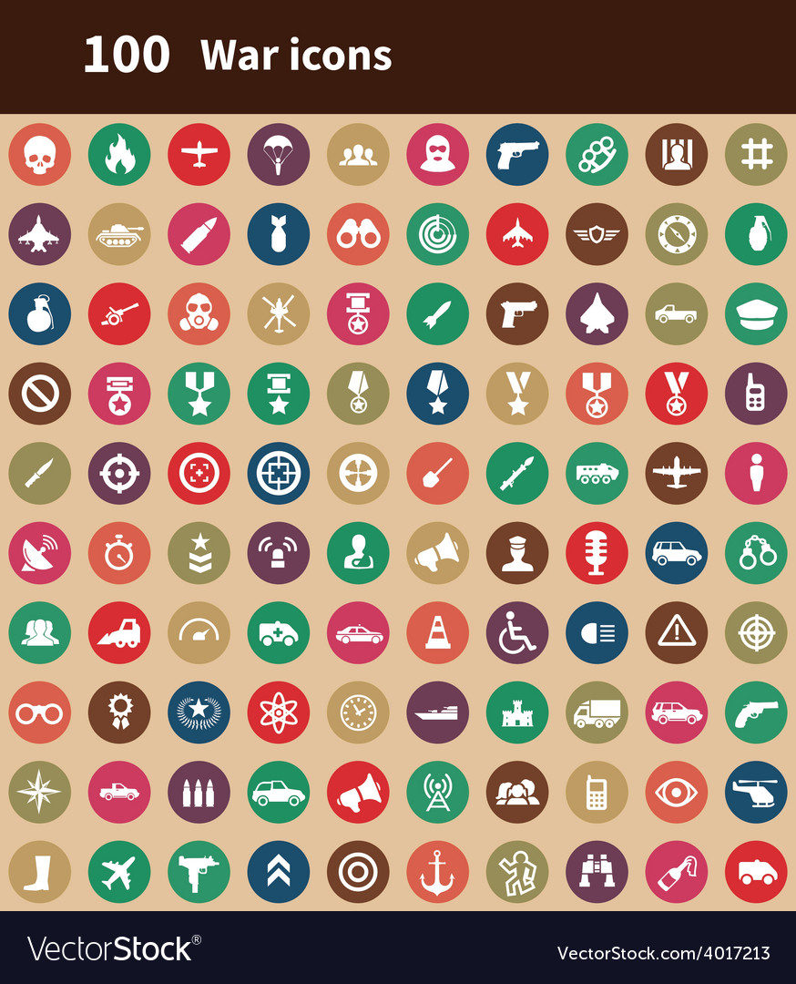100 war icons vector | Price: 1 Credit (USD $1)