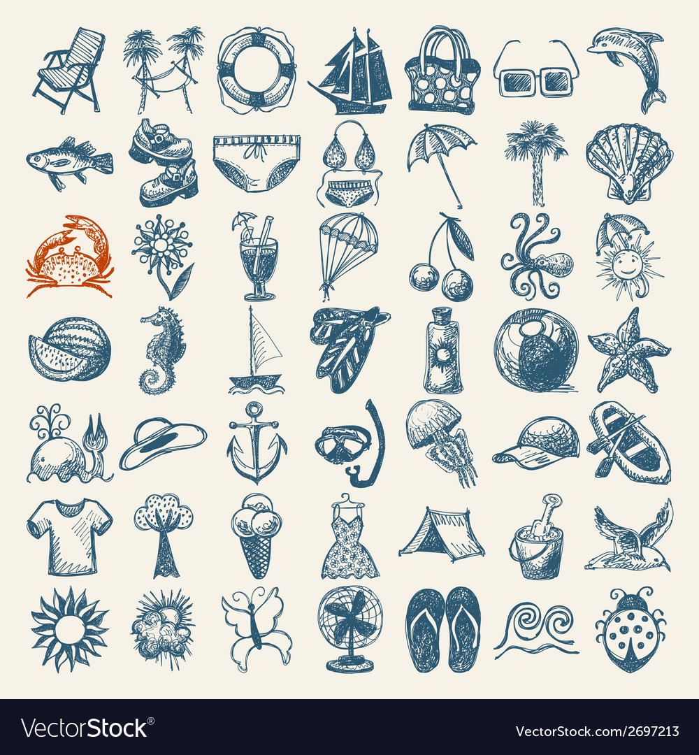 49 hand draw sketch summer icons collection vector | Price: 1 Credit (USD $1)