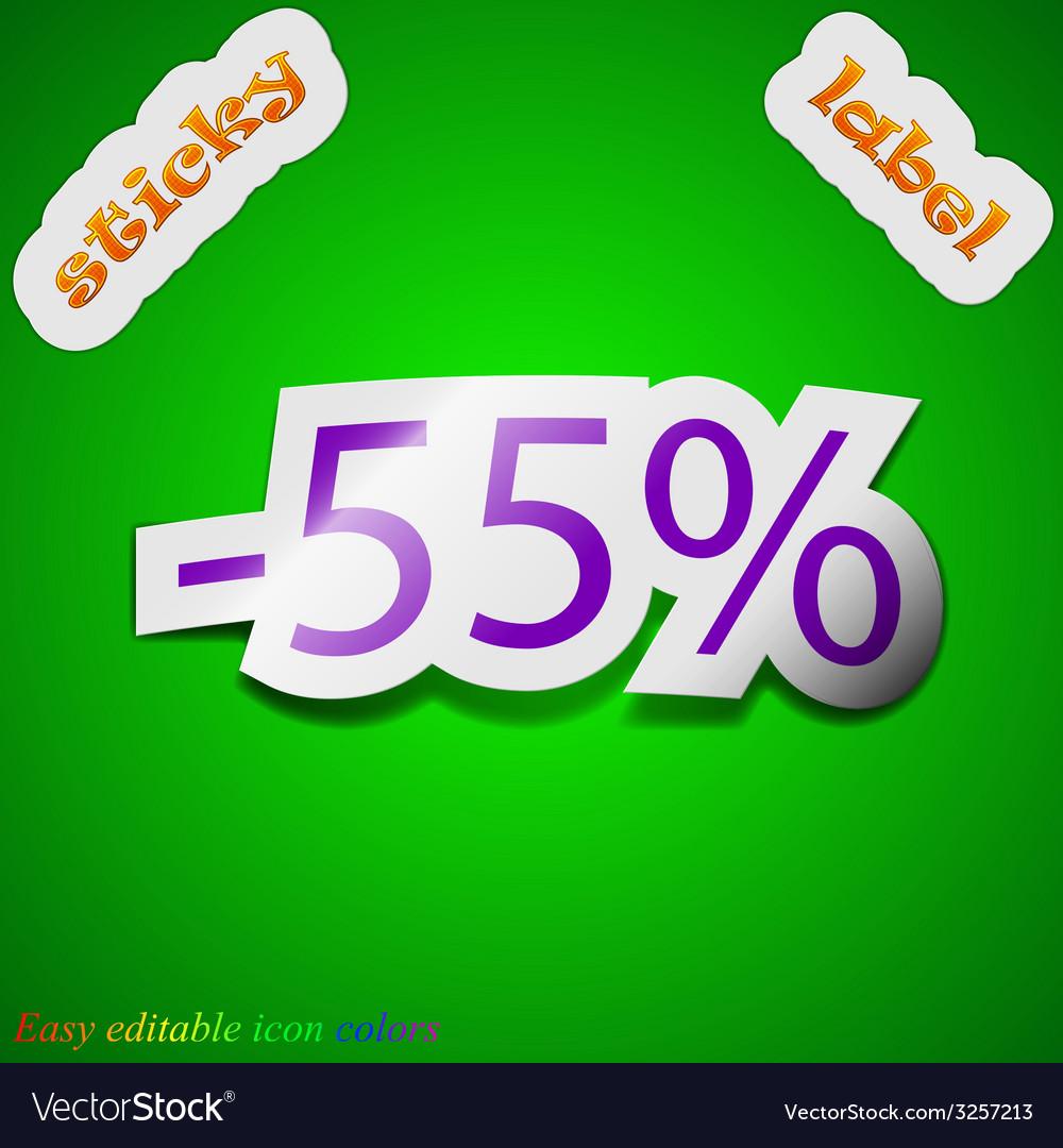 55 percent discount icon sign symbol chic colored vector | Price: 1 Credit (USD $1)