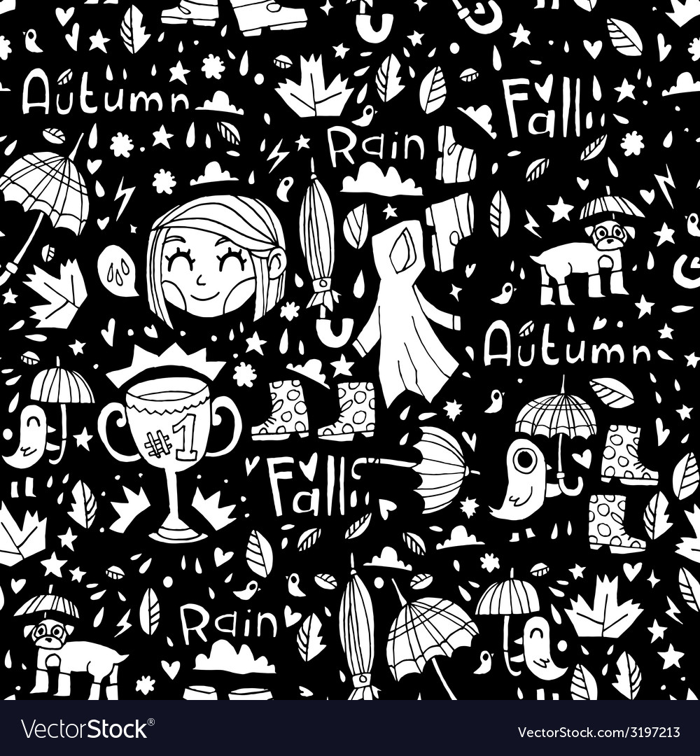 Black and white cute autumn pattern vector | Price: 1 Credit (USD $1)