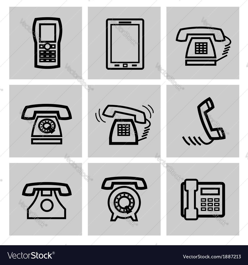 Black phone icons set vector | Price: 1 Credit (USD $1)
