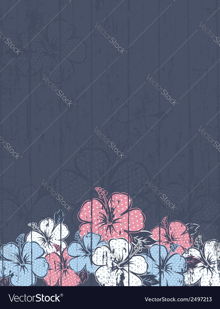 Bouquet of hibiscus on grey background vector | Price: 1 Credit (USD $1)