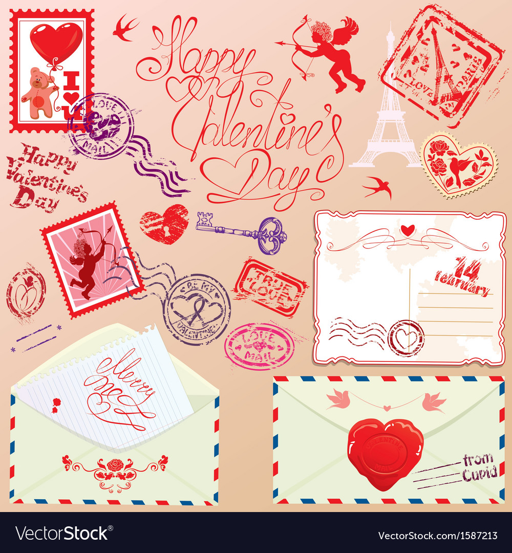 Collection of love mail design elements - stamps vector | Price: 3 Credit (USD $3)