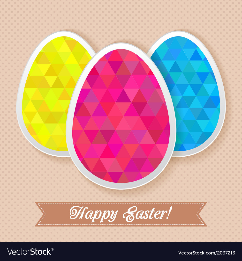 Greeting easter card with triangles eggs vector | Price: 1 Credit (USD $1)