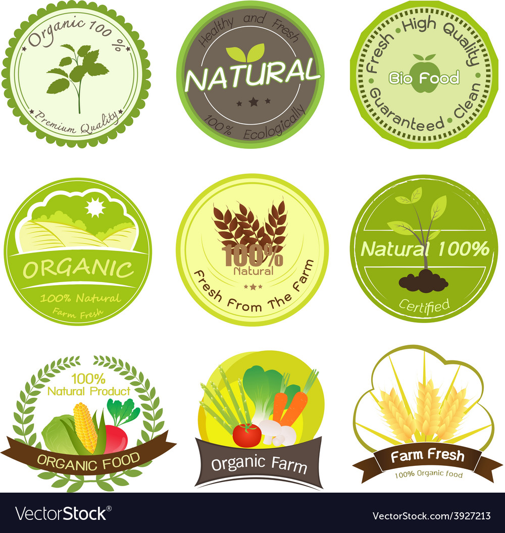 Organic and natural labels vector | Price: 1 Credit (USD $1)