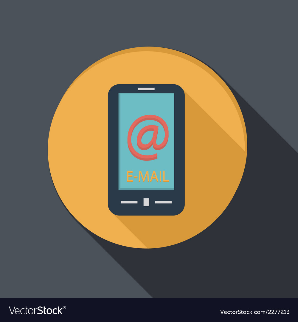 Paper flat icon smartphone with the symbol mail vector | Price: 1 Credit (USD $1)