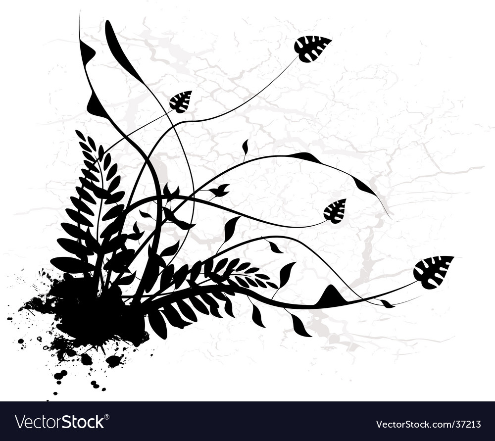 Silhouette black floral vector | Price: 1 Credit (USD $1)
