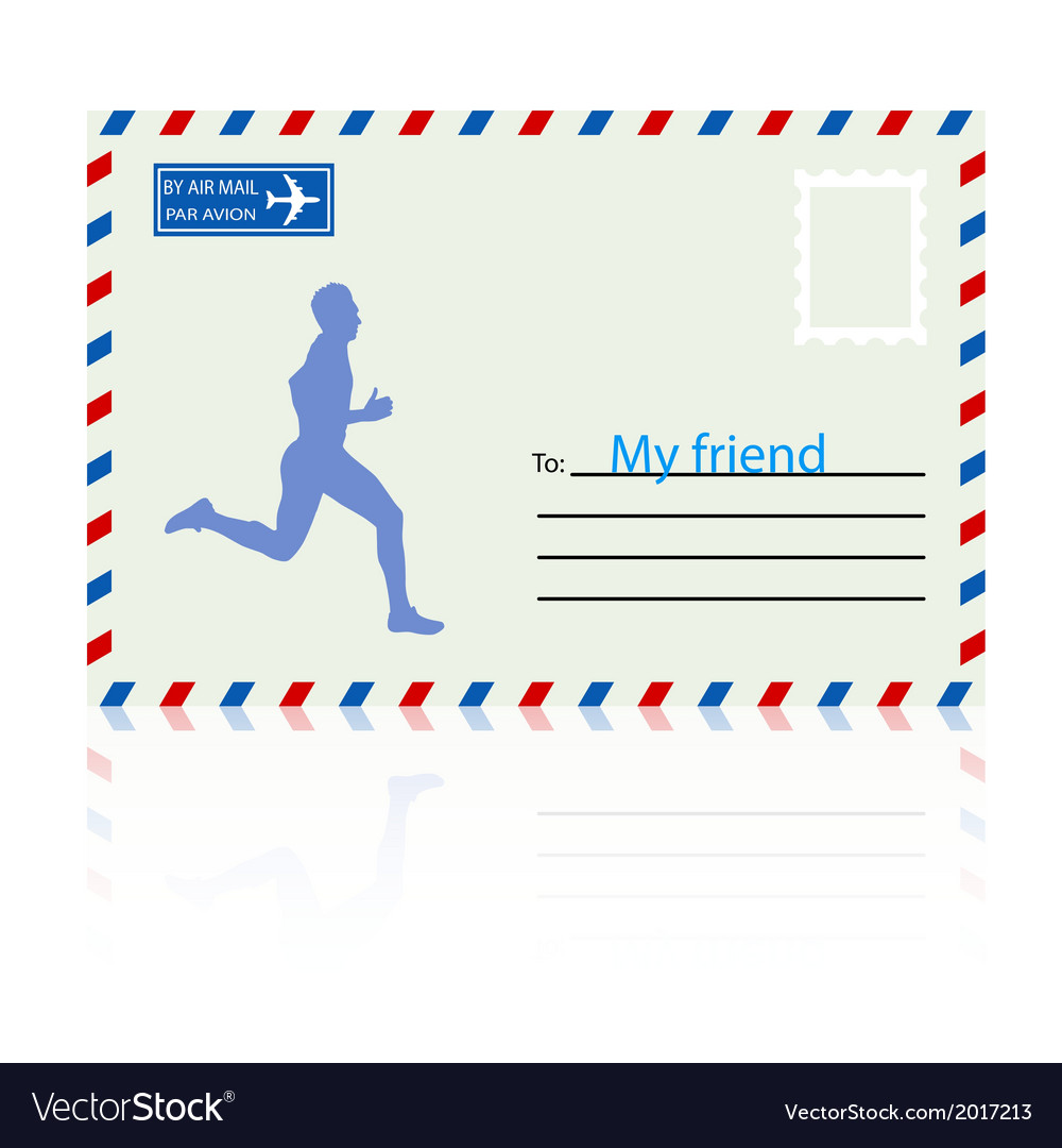 Silhouettes athlete runs on the mail envelope vector | Price: 1 Credit (USD $1)