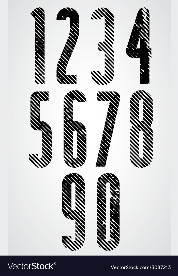 Tall poster headline numbers with halftone lines vector | Price: 1 Credit (USD $1)