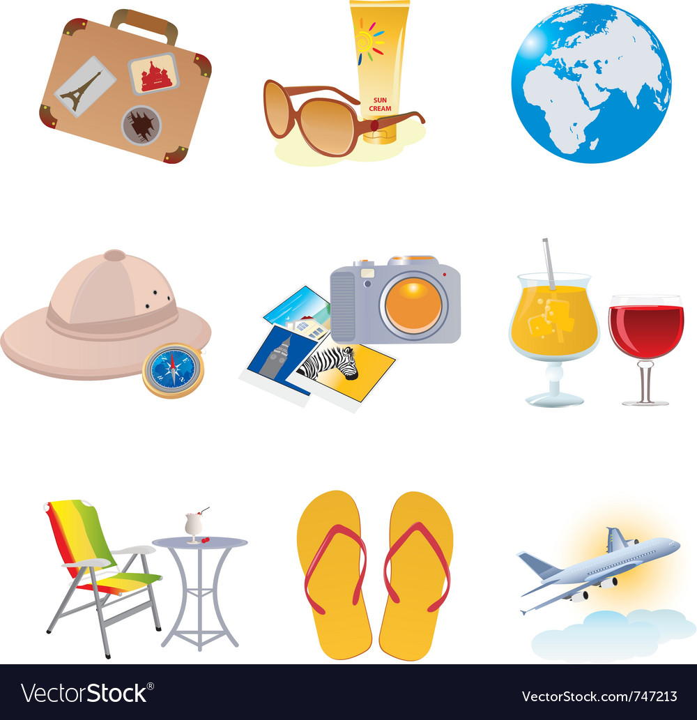 Tourism and vacation icons vector | Price: 1 Credit (USD $1)