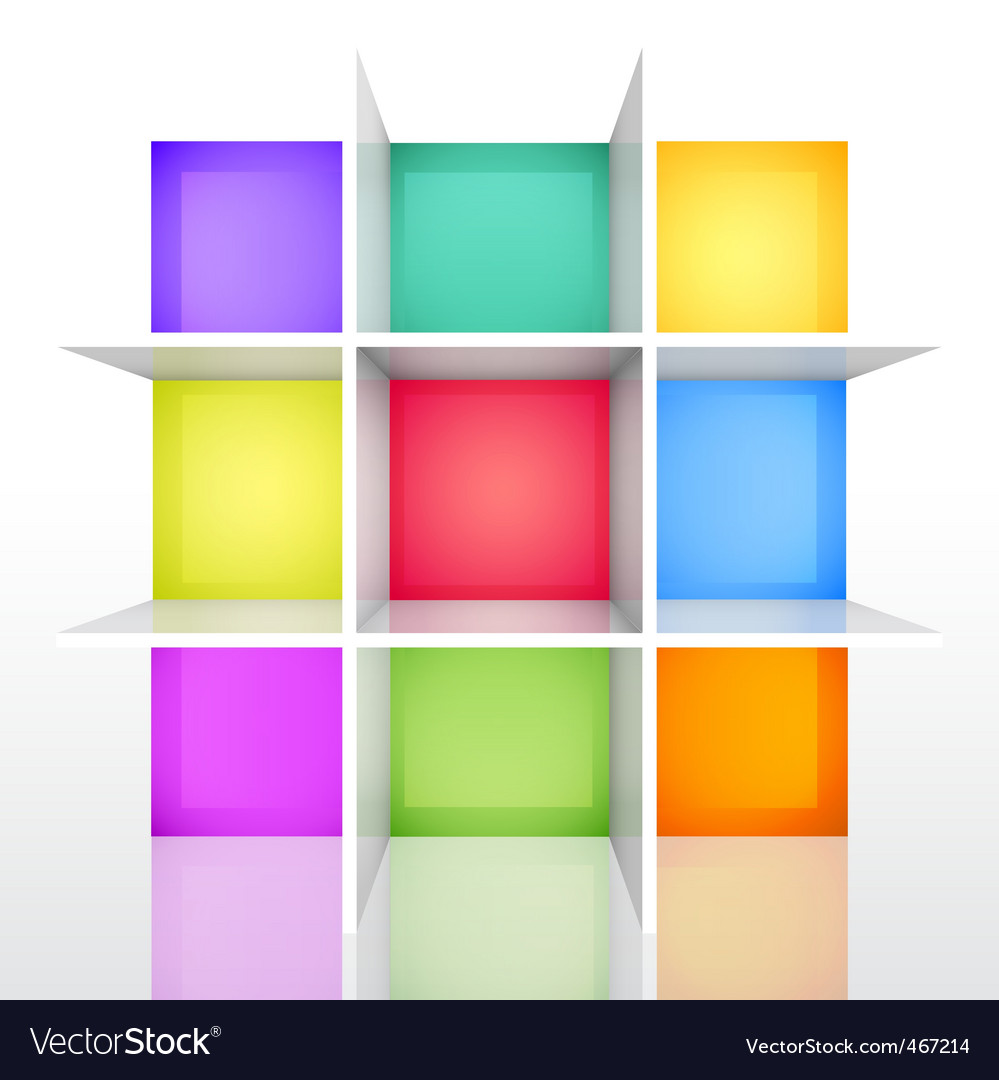 3d isolated empty colorful bookshel vector | Price: 1 Credit (USD $1)
