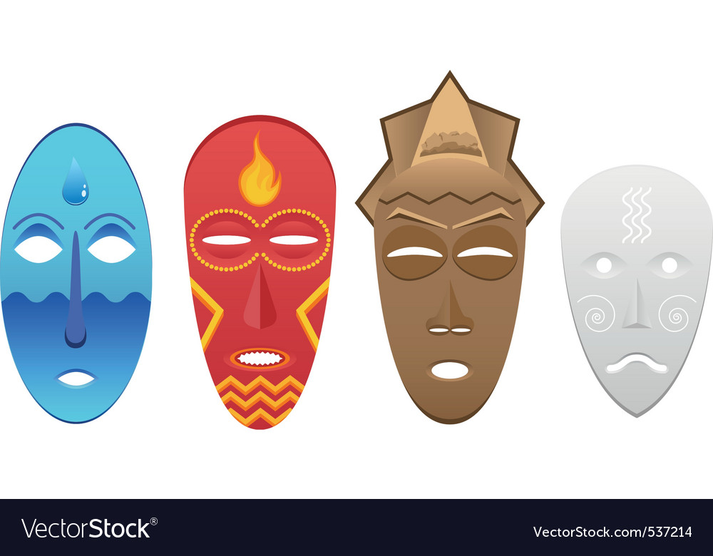 4 elemental masks vector | Price: 1 Credit (USD $1)