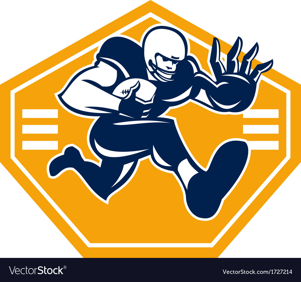 American football running back stiff arm vector | Price: 1 Credit (USD $1)
