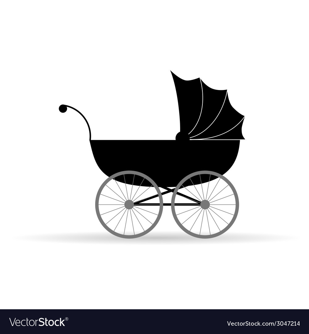 Baby carriage in black vector | Price: 1 Credit (USD $1)