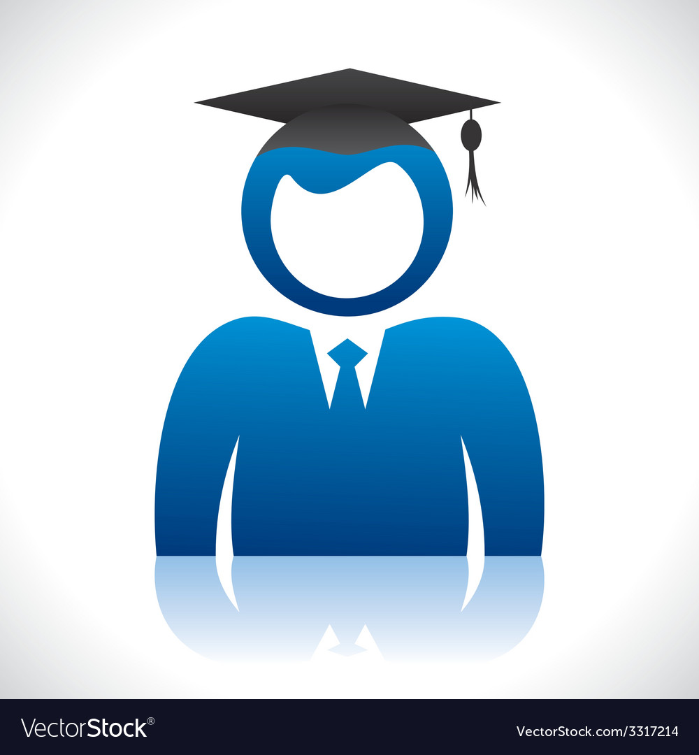 Blue graduate student with pass-out cap vector | Price: 1 Credit (USD $1)