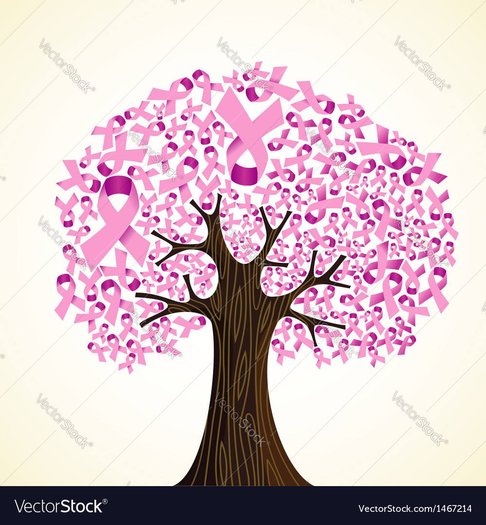 Breast cancer ribbon tree vector | Price: 1 Credit (USD $1)
