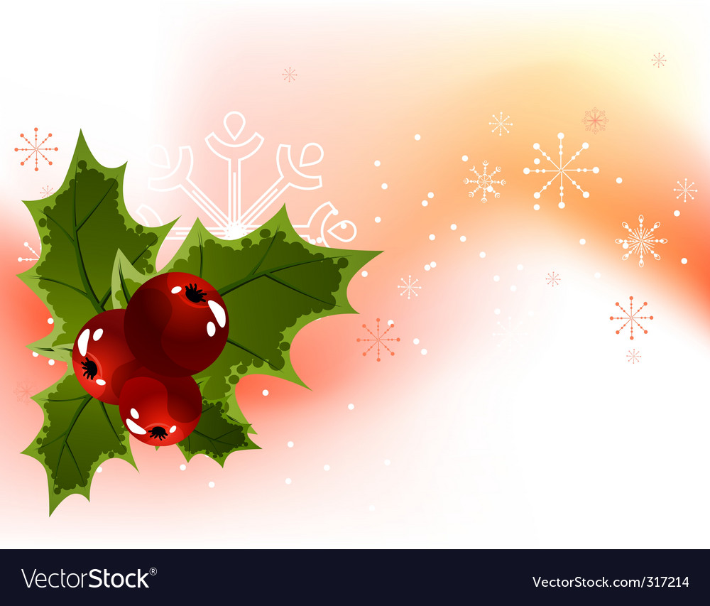 Christmas holly berry background vector | Price: 1 Credit (USD $1)
