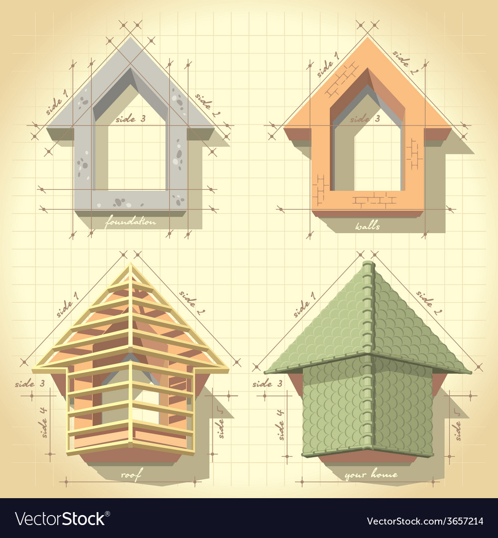 Drawing of building a house vector | Price: 3 Credit (USD $3)
