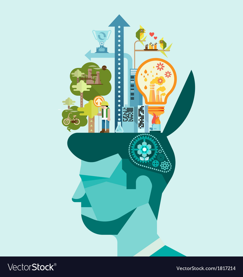 Ecology think green human mind vector | Price: 3 Credit (USD $3)