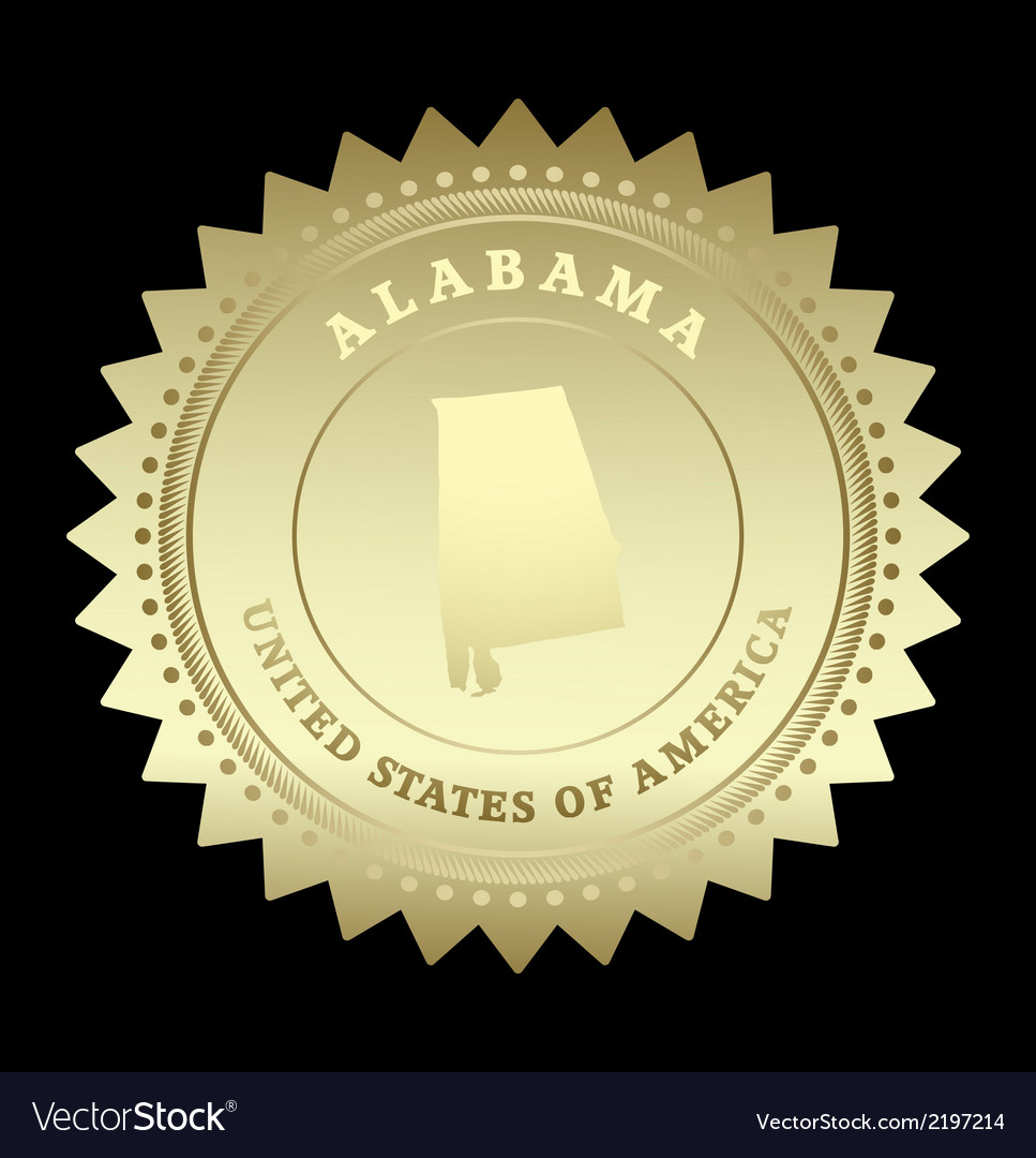 Gold star label alabama vector | Price: 1 Credit (USD $1)