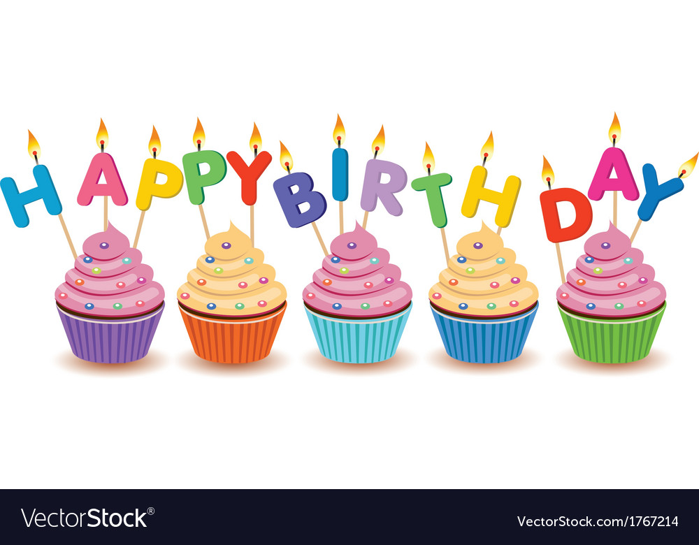 Happy birthday cupcakes card vector