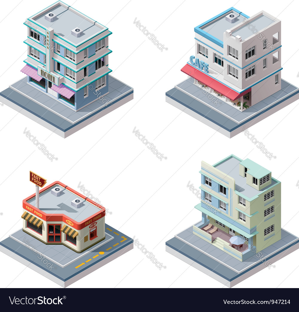 Isometric buildings set vector | Price: 5 Credit (USD $5)