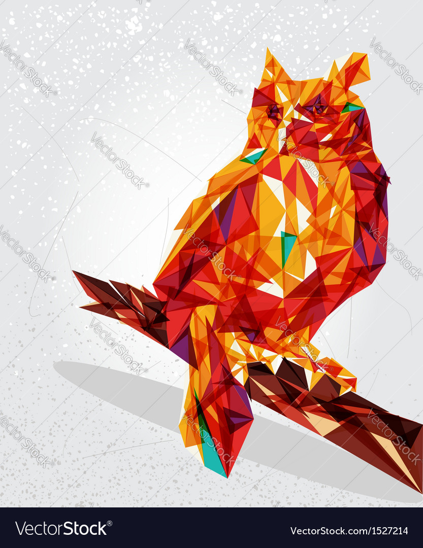 Owl bird geometric vector | Price: 1 Credit (USD $1)