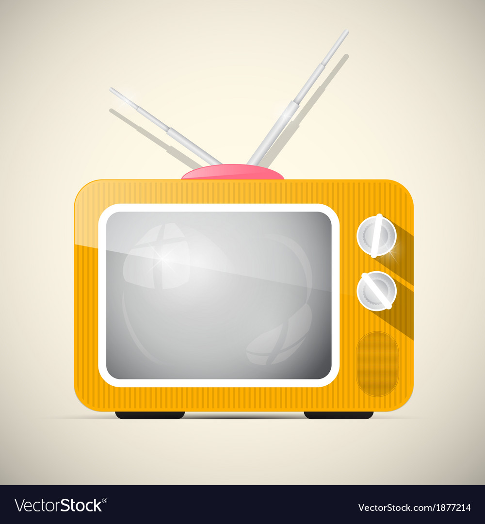 Retro orange television tv vector | Price: 1 Credit (USD $1)