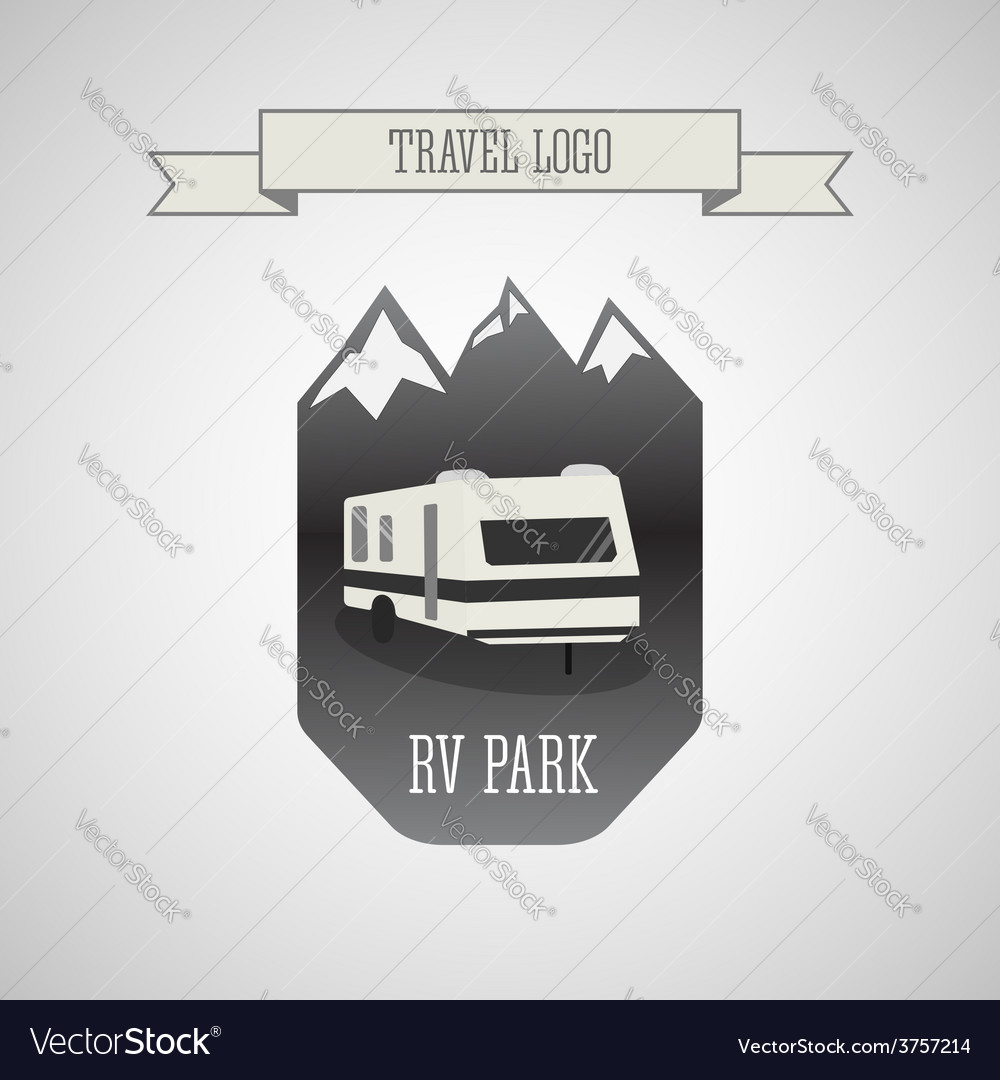 Rv and caravan park logo badges outdoor theme vector | Price: 1 Credit (USD $1)