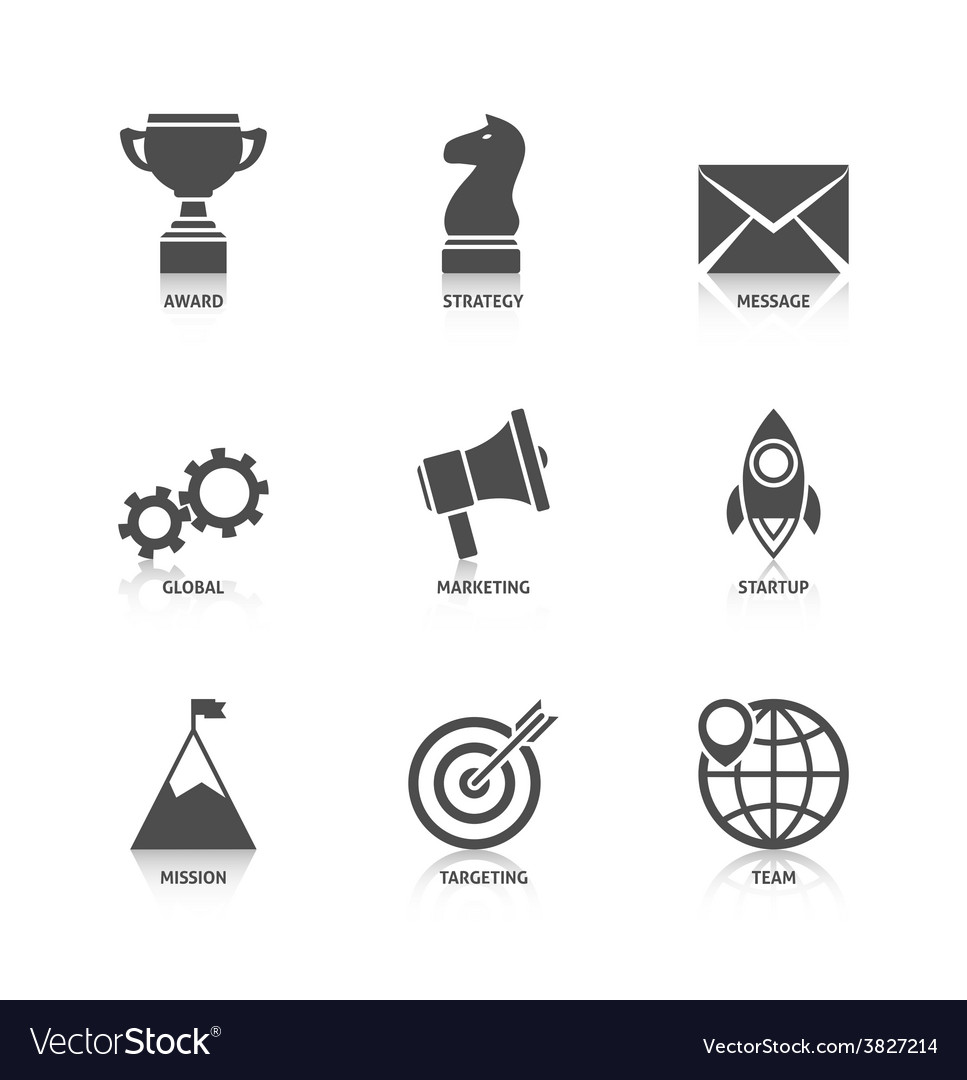 Start up icons with reflection vector | Price: 1 Credit (USD $1)