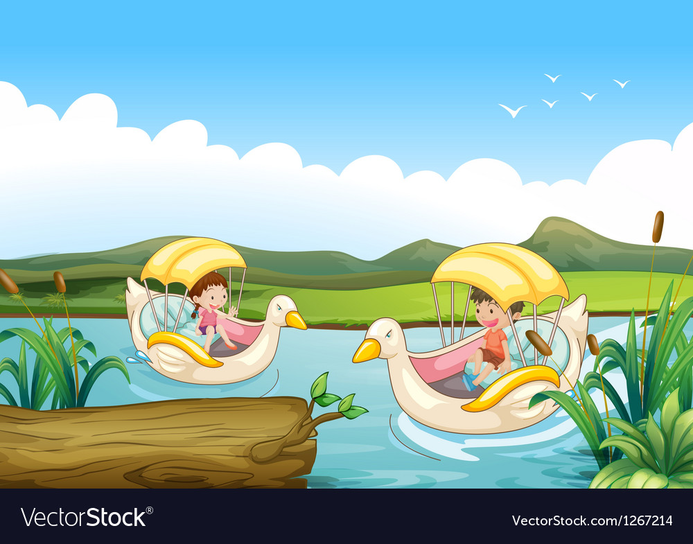 Two swan boats at the river vector | Price: 1 Credit (USD $1)