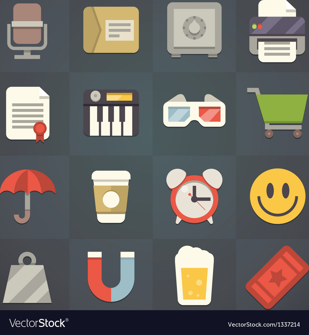Universal flat icons for applications set 6 vector