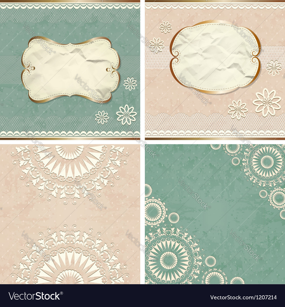 Vintage borders with lace pattern vector | Price:  Credit (USD $)