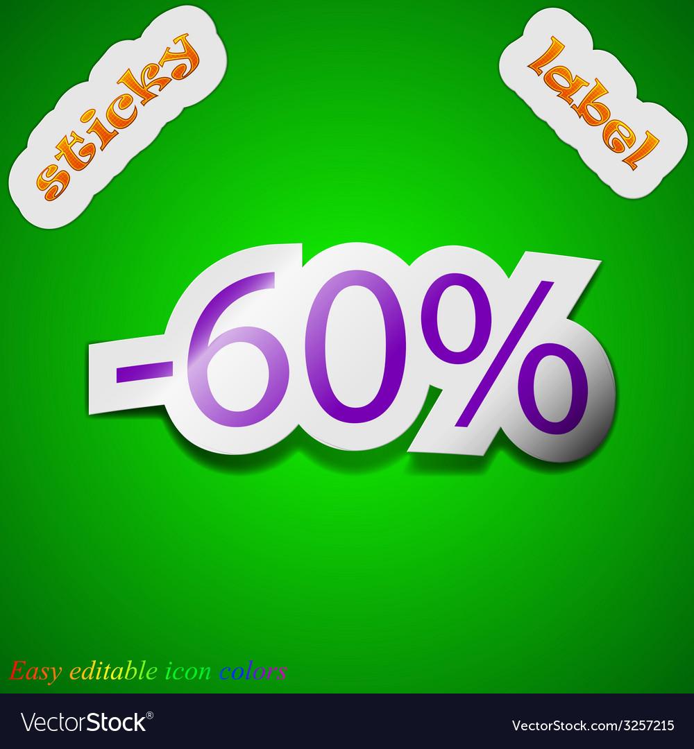 60 percent discount icon sign symbol chic colored vector   Price: 1 Credit (USD $1)