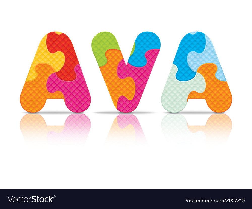 Ava written with alphabet puzzle vector | Price: 1 Credit (USD $1)