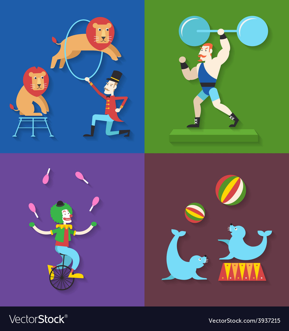 Circus performance with animals clown actor athlet vector | Price: 1 Credit (USD $1)