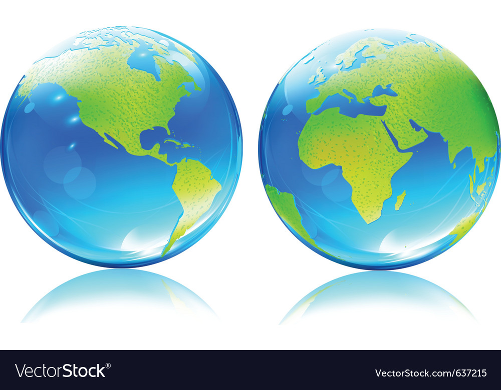Earth map globes vector | Price: 1 Credit (USD $1)