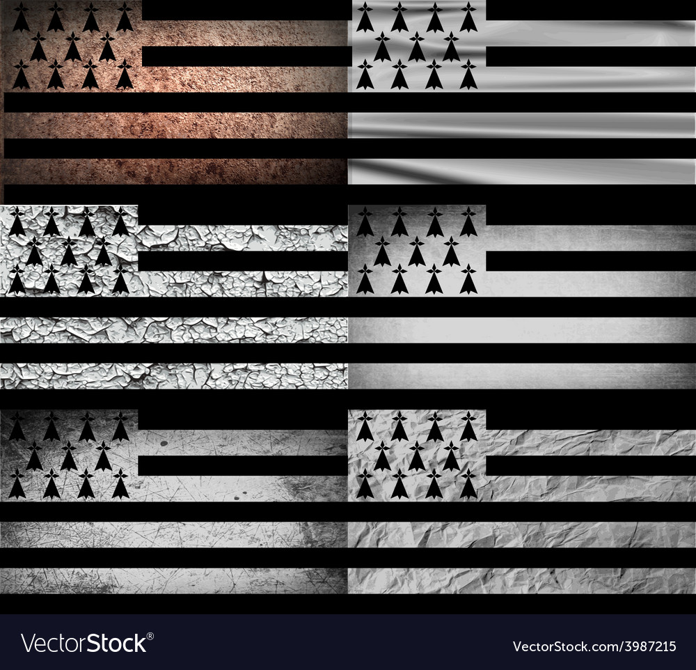 Flag of brittany with old texture vector | Price: 1 Credit (USD $1)
